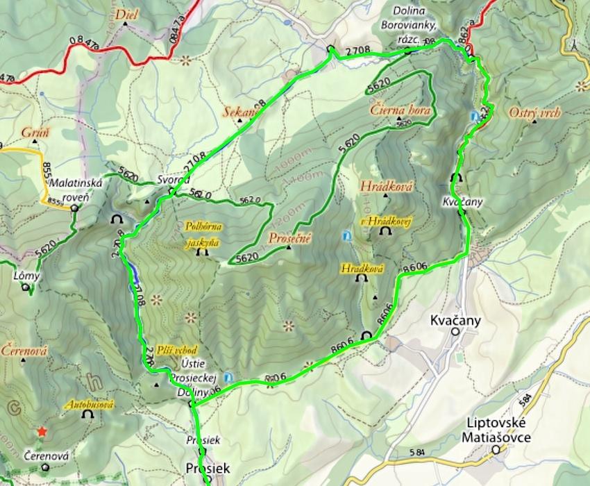 Mapa trasy - Okruh Prosieckou a Kvačianskou dolinou